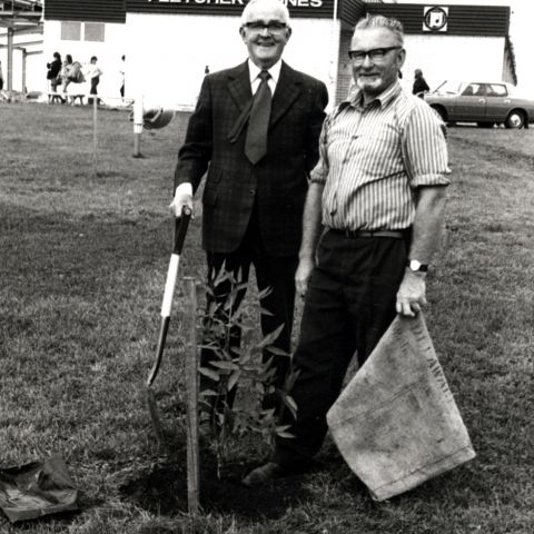 Fletcher Jones and Dick Tongue planting a tree at the Mt Gambier factory, 1972.  Photo: Jones Family Collection